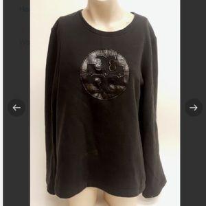 Tory Burch black logo pullover
